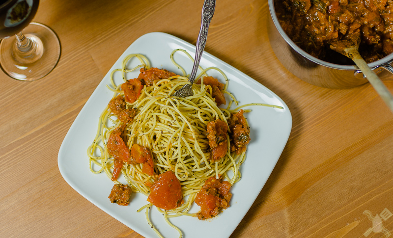 This very filling dish is very easy to make and tastes wonderful.  Spaghetti is definitely something that can comfort you in times of need or want.  Plus homemade pasta sauce is the best!