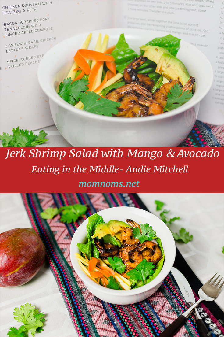 This is a very easy and delicious salad that you can make in no time.  Especially good for when you're a very busy person, but don't want to sacrifice food.    Jerk shrimp is sweet and a little spicy.