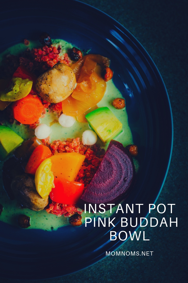 I needed something healthy to eat for lunch today, so I threw together a Pink Buddha Bowl, like a regular Buddha bowl, but with quinoa cooked in pickled beets!