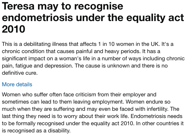 theresa may to recognise endometriosis under the equality act
