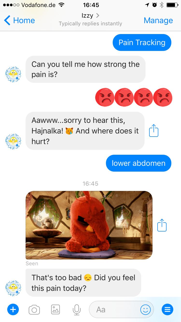Izzy period tracking chatbot endometriosis