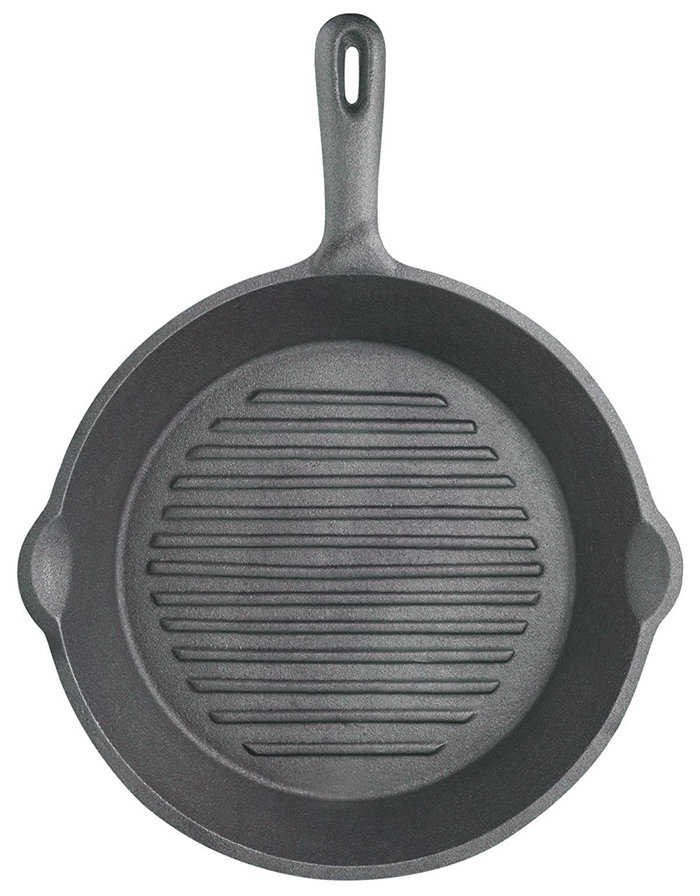 """KitchenCraft Ribbed Round Cast Iron Griddle Pan, 24 cm (9.5"""")"""