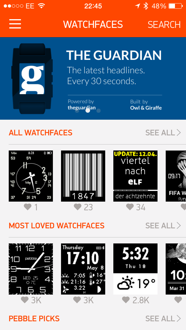 The app featured on the Pebble app store