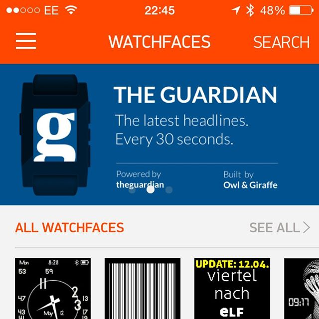#throwbackthursday Back in 2014 we undertook an internal design and product development project to explore smartwatches and, more specifically, the physical-digital interaction between wrist and information. This took the form of an application for the Pebble watch that enabled Guardian readers to enjoy the day's headlines via the medium of their watch's clockface. The app featured on the Pebble app store and at it's peak the application was installed on over 200k watches across the world - that's almost 50% of all Pebble watches owned at that time of production.⠀ .⠀ #tbt #owlandgiraffe #product #productdevelopment #pebblewatch #smartwatches #theguardian #researchanddevelopment