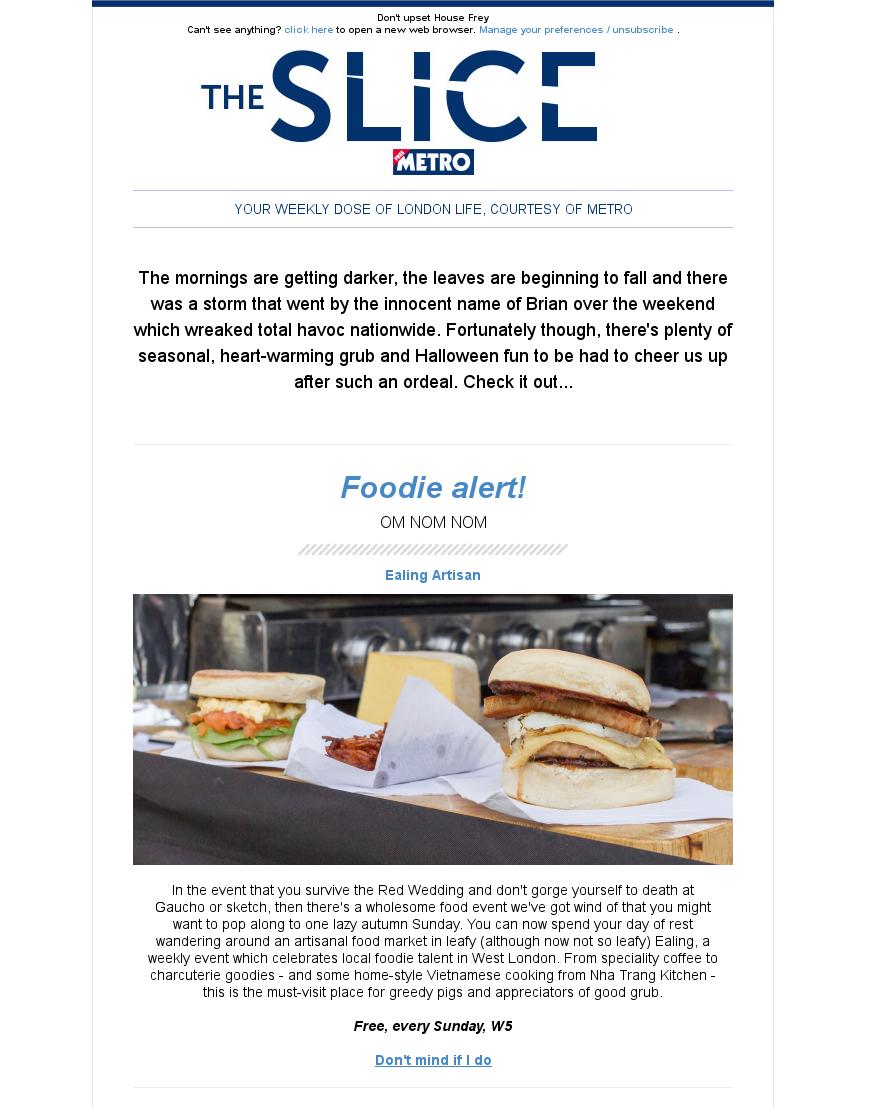 Ealing Artisan article, Metro's The Slice