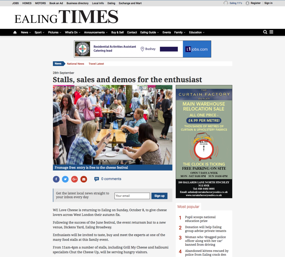 We Love Cheese article,  Ealing Times
