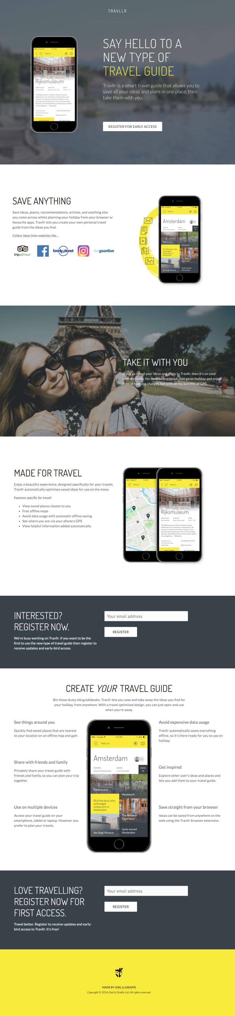 Travllr product landing page