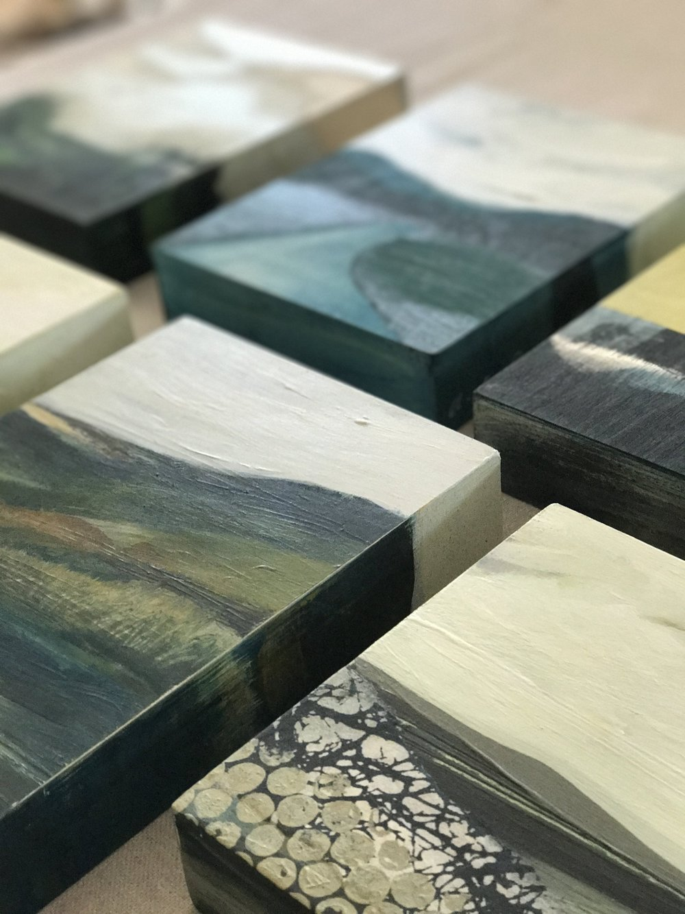 "A collection of paintings on wood. Explorations of abstract ideas and landscape compositions. Small but mighty. Purchase one or a collection to hang together or place on a mantle with some of your favorite things.  Details: 6"" x 8"" X 1.5""  click on the image to see full view."