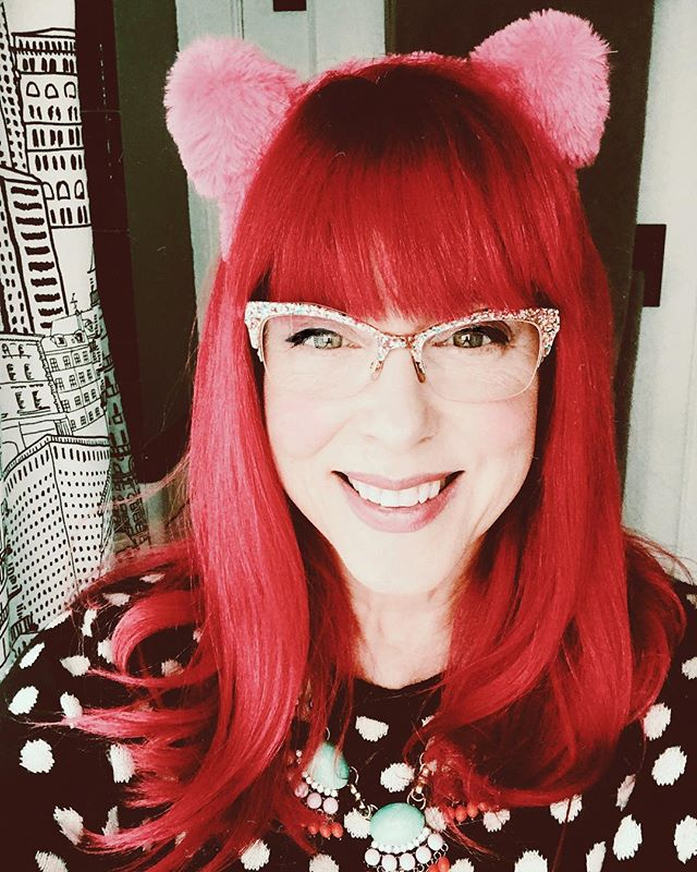 I seem to be seriously smitten with these fuzzy ears, because I find myself wearing them every day. Either I'm regressing, or I lost that final fuck that was lingering at the bottom of my bag. * * #agingdisgracefully #styleafter50 #over50andfearless #fiftyandotherfwords #instagramover50 #advancedstyle #friYAY #pinkhairdocare #over50style #notdeadyet