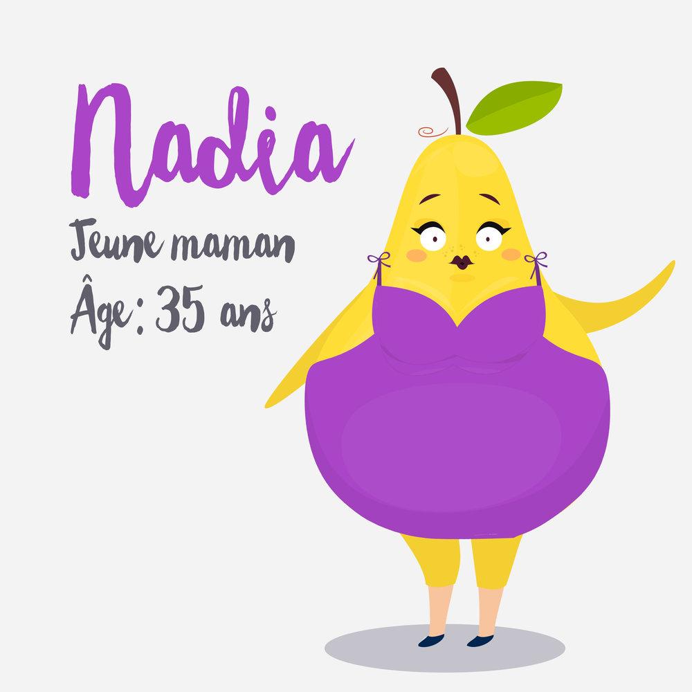 Nadia Nadia est une jeune maman de 35 ans. Après leur deuxième et dernier bourgeon, elle est décidée! Elle et Julie,la pommette du verger d'à côté,décident de se remettre en forme!Nadia le fait d'abord pour elle-même, mais il est certain que son voyage de filles à Cuba prévu dans 2 mois lui donne une petite motivation supplémentaire à perdre quelques livres :)