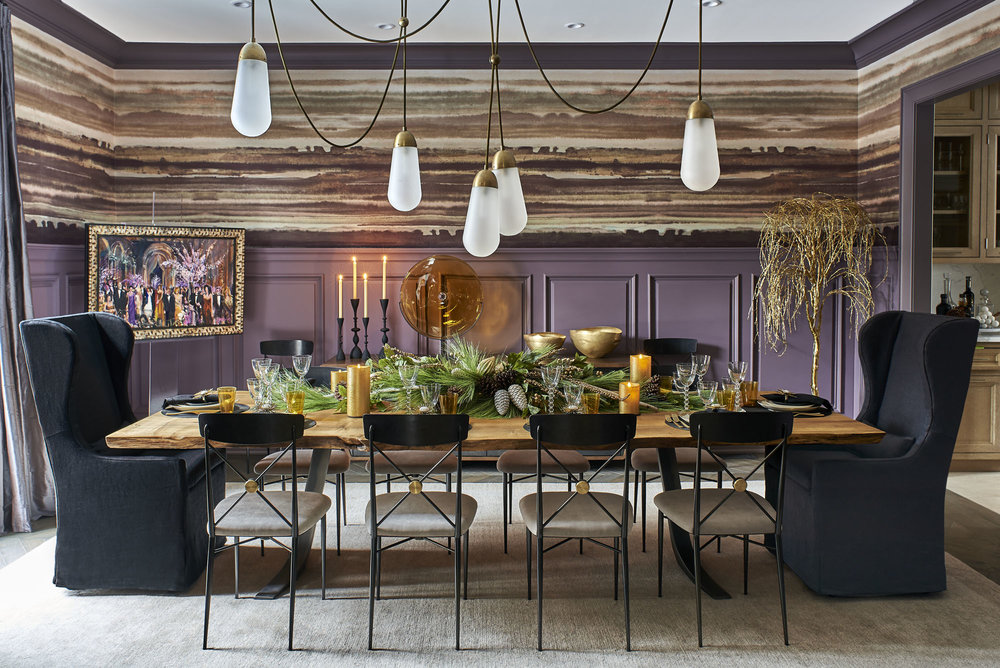 The paneling color and upper wall paint faux treatment were unusual and wildly creative, not to mention the party scene painting on the left and gold spray-painted tree right.