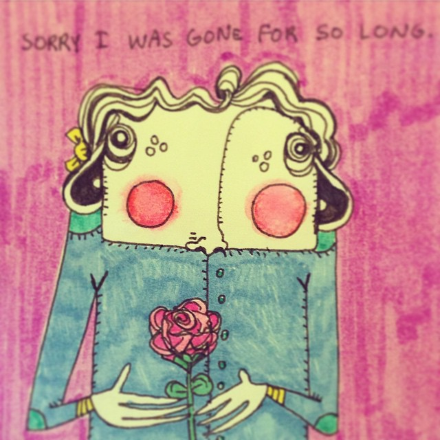#sorry #imback #canyouforgiveme #havethisrose #dontbemad #art #illustration #drawing #quicksketch #penandink #characterdesign #littleworthies #littleworthy #postitpeople #postitnote #postits #postitart #postitdoodle #postitnoteart #cute #odd #elbowpatches