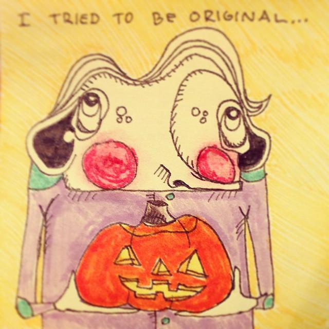#fail #betterlucknexttime 🎃 #halloween #jackolantern #pumpkin #carving #festive #art #illustration #drawing #quicksketch #penandink #characterdesign #postitpeople #postitnote #postits #postitart #postitdoodle #postitnoteart #cute #odd #elbowpatches