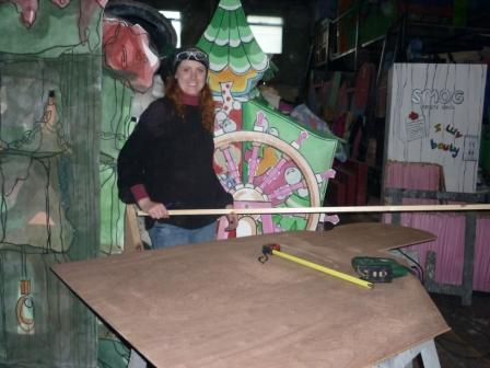 Our props team at work - Debbie makes a pram...