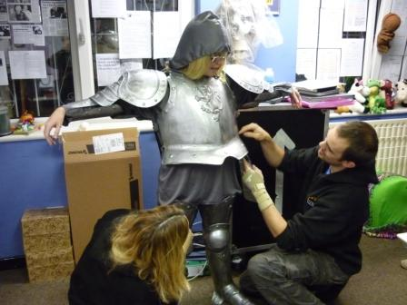 We dressed Louise up in a suit of armour (don't ask why!)...