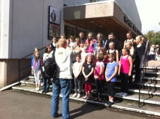 Some of the babes on the steps of the Royal Spa Centre, having their photo taken for the press.