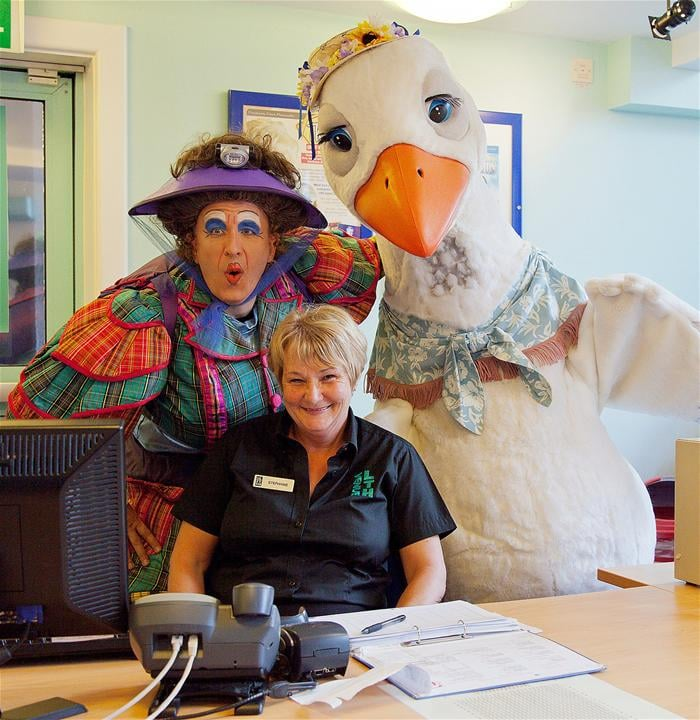 Mother Goose and Pricilla pop by at the Box Office to book some tickets...