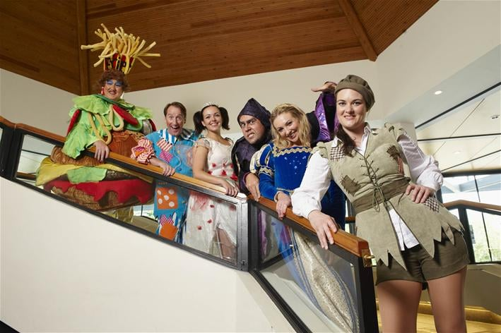 L-R - Iain Lauchlan as Dame Trott, Karl Woolley as Simple Simon, Katrina Bryan as the Fairy, Connor McAllister as Fleshcreep, Kate Robson-Stuard as Princess Tamara and Claire Waugh as Jack.