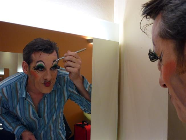 Nick dons his Dame make-up