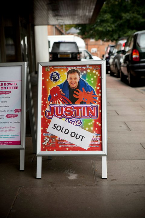 Justin plays to sold out houses