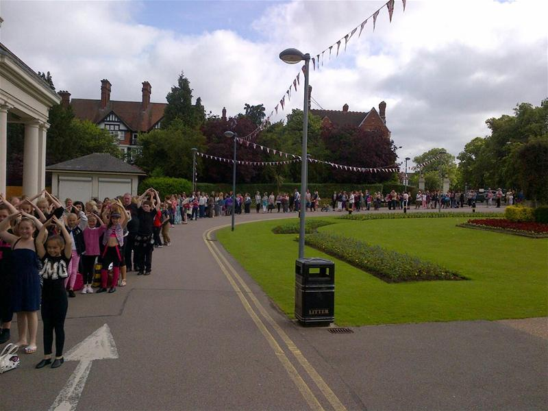 The queue for Babes auditions at Leicester for Aladdin
