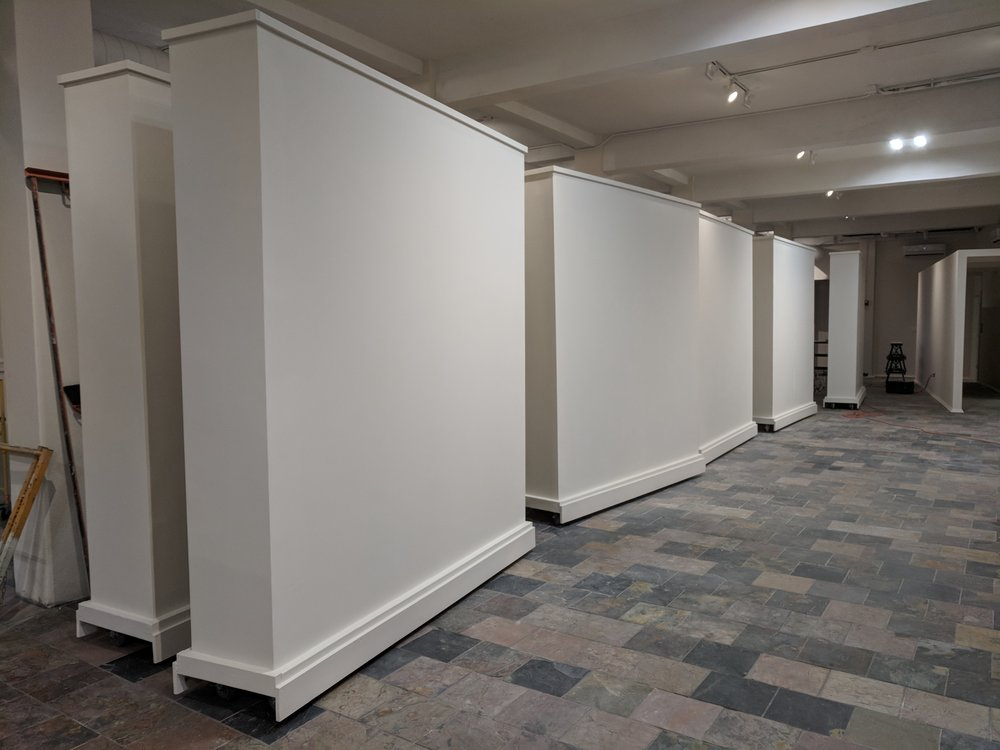Ten large 9x8ft mobile gallery walls for Intersect Art Gallery