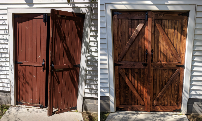 Before/after of custom barn doors rebuild.