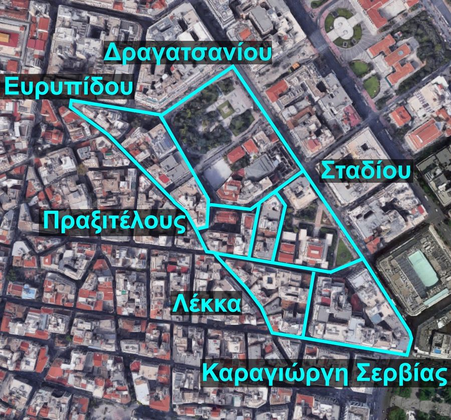The area of interventions in the Historic Triangle