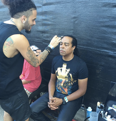 Behind the scenes and backstage with  The GRAMMYs  winner  Doug Wimbish  from Legendary American band  Living Colour  getting ready to hit the stage in a Tshirt hand painted with 24kt gold by our Italian Designer  HORO . Styled By  Leisa Balfour .  Fashion Provided By  #IvanBittonStyleHouse   Special thanks to  Chiara Simonetti