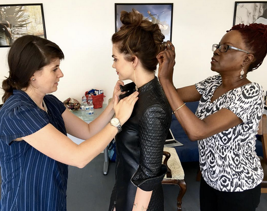 Behind the scenes with  CBS 's star  Jillian Murray  from hit show  Code Black  as she is getting ready for the cameras of  Regard Magazine  while styled by  Francesca Roth  and featuring our Gorgeous leather coat by our designer  #Napsugar   Fashion provided By  #IvanBittonStyleHouse
