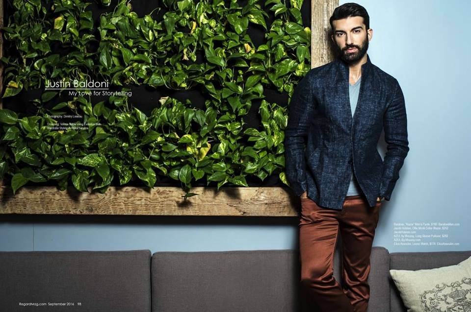 Justin Baldoni , star of  The CW  hit show  Jane The Virgin  posing for the cameras of  Regard Magazine  wearing pants from our American designer  Barabas Men . Styled By  AmbiKa Sanjana .  Fashion Provided By  #IvanBittonStyleHouse