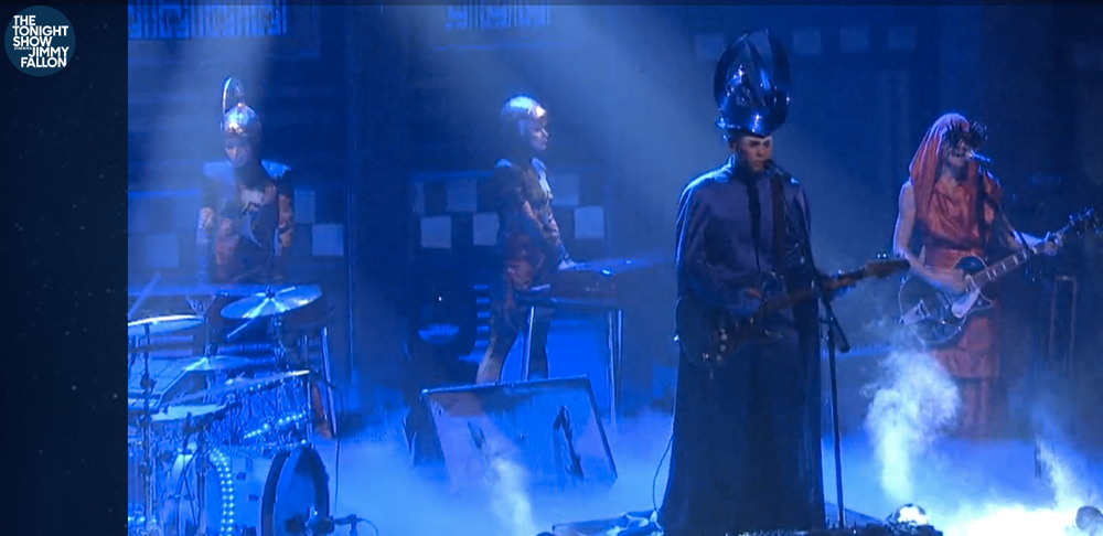 Big Time Alert! @Nick Littlemore from the superstar band  Empire of the Sun  performing live on  The Tonight Show Starring Jimmy Fallon  wearing a headpiece by our amazing designer  CHERNOBYL SHOW DESIGN .  Fashion Provided By  #IvanBittonStyleHouse