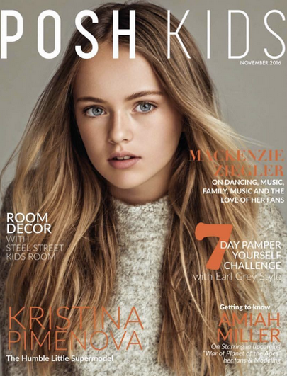 Cover Moment!! Deemed 'The most beautiful girl in the world'  Kristina Pimenova  gracing the cover of  Posh Kids Magazine  wearing a sweater by our Hong kong Designer  ZIZTAR .  co-Styled by  #TeamBitton   Aaron Gomez  and  #Sica   Fashion provided By  #IvanBittonStyleHou