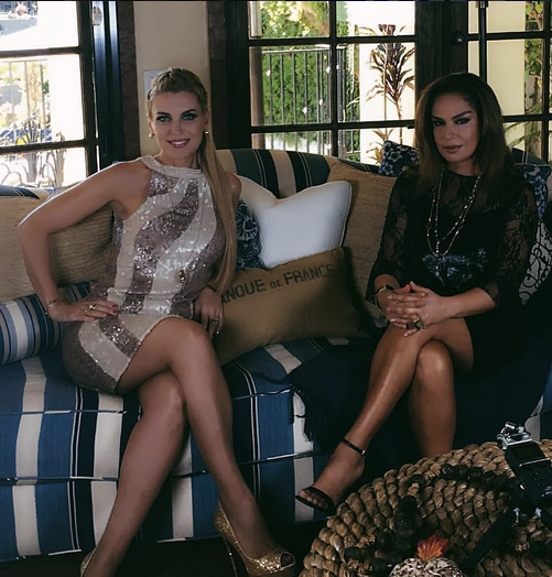 Behind the scenes with Argentinian actress  Sandra Vidal  from hit show  Rica Famosa Latina  with Latin's Fashion Police reporter @elisaberistain wearing a cocktail dress from our designer from Gemany  Anya Liesnik . Styled By  #TeamBitton   Brandie Costello   Fashion Provided By  #IvanBittonStyleHouse