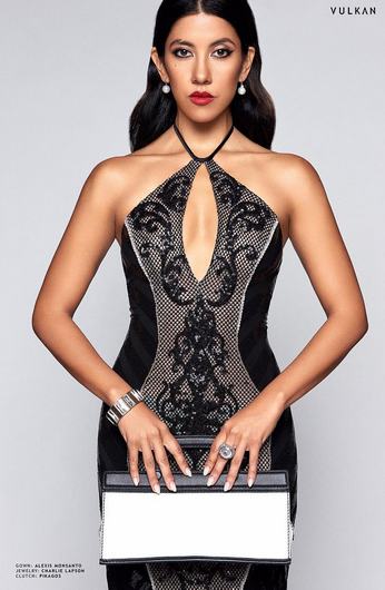 FOX 's star  Stephanie Beatriz  from hit show  Brooklyn Nine-Nine  posing gorgeous for the Cameras of  Vulkan Magazine  with a clutch from our South Korean Designer @pikagos .Styled by  Michael Saint Michael . Fashion Provided by  #IvanBittonStyleHouse