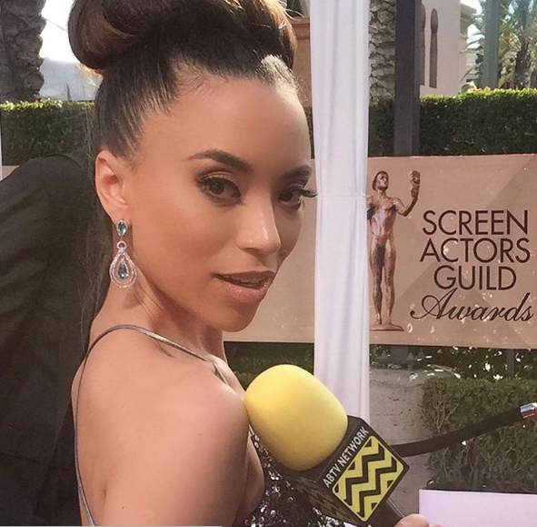 AfterBuzz TV and E! Entertainment star Alina Vission attending the SAG Awards wearing a clutch by our Italian designer Ottaviani and jewelry by our American designer Sambac Jewelry.  Fashion provided by Ivan Bitton Style House