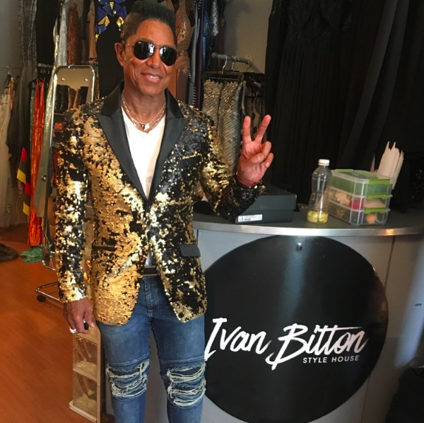 @officialjermainejackson  in the house! Fittings for Cannes have begun! Wearing a jacket from our American designer  @barabas_men  and making measurements for upcoming custom made by our German designer  @marcellvonberlin  . Fashion provided by  #ivanbittonstylehouse