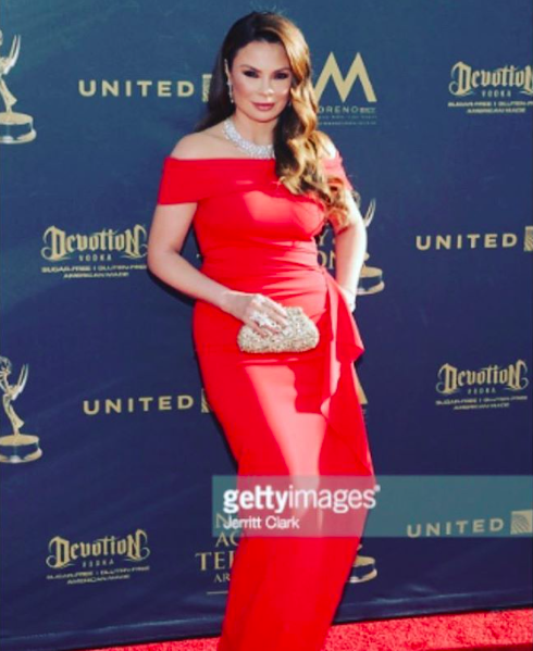 Emmy award winner actress  @lillymelgarofficial attending the  @daytimeemmys  2017 in a dress from our designer  @nicolebakti  . Styled by  @stylebyquilo  Fashion provided by  #ivanbittonstylehouse