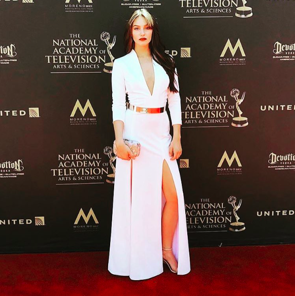 @daytimeemmys presenter  @stoneybalogna  is looking ravishing arriving in a gown from our German designer  @marcellvonberlin  a belt by our American designer  @nicolebakti  and a clutch by our Italian designer  #ottavianiofficial  Styled by  #teambitton   @lundynellerose  Fashion provided by  #ivanbittonstylehouse