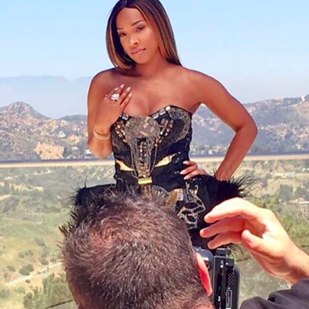Behind the scenes with  @eentertainment  'keeping up the Kardashians' costar  @forevermalika  posing for  @amaremagazine  and flaunting her gorgeous ring by our American designer  @sambacjewelry  styled by  #teambitton  @leisastylediva   @traveln.style  and  @aarongomezp  Fashion provided by  #ivanbittonstylehouse  shot courtesy of  @luxxloft