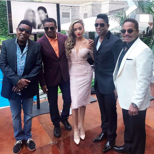 Breaking news!  #thejackson5  (minus  @michaeljackson  😥) reunion special. This iconic pic includes  @officialjermainejackson  girlfriend  #madayvelazquez  wearing a dress by our Canadian designer  @_narces  Styled by  #teambitton   @leisastylediva  Fashion Provided by  #ivanbittonstylehouse