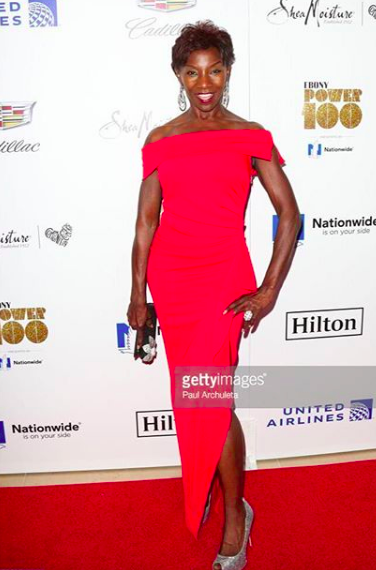 Looking fabulous! star from the #1 hit show 'The walking dead ' @amcthewalkingdead @therealjeryl at the @ebonymagazine red carpet wearing our designers ✨ dress by @nicolebakti jewelry made by @sambacjewelry and the clutch made by our Italian designer @ottavianiofficial styled by #teambitton @sheriecefordestyling Fashion provided by #ivanbittonstylehouse
