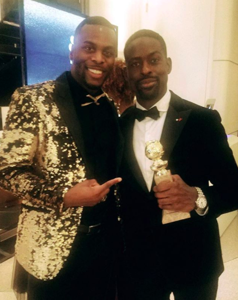 ivanbittonstylehouse  @goldenglobes winner!  @sterlingkbrown  celebrating his acting win with actor  @artistundenied  from hit show  @youretheworstfxx  wearing a jacket by our designer  @barabasmen  at the  @hbo after party styled by  #teambitton  @aarongomezp  Fashion provided by  #ivanbittonstylehouse
