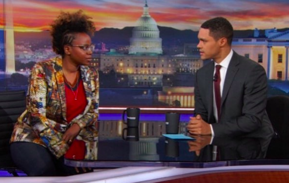 ivanbittonstylehouse National TV alert!  @goldenglobes  nominee for her film  @mudbound   #DeeRees  on  @thedailyshow with  @trevornoah  wearing a jacket from our designer  @barabasmen  Styled by  @zerinaakers  Fashion provided by  #ivanbittonstylehouse