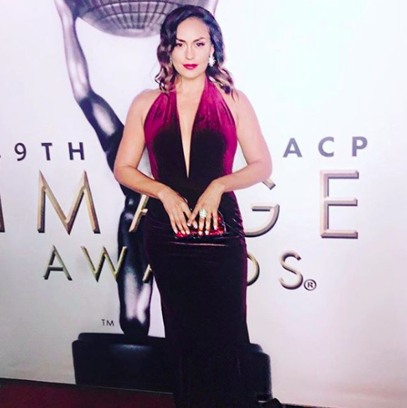 ivanbittonstylehouse Spotted !  @hulu  star from hit tv show  @eastloshigh   @jesmeza looking stunning at the  @naacpimageawards wearing our designers ✨  @sambacjewelry  @evamejl   @rosatolenttino  styled by  #teambitton   @stef.gallegos  fashion provided by  #ivanbittonstylehouse