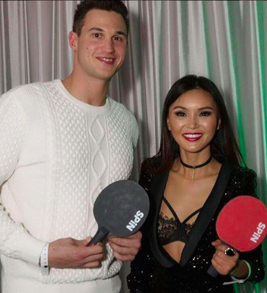 ivanbittonstylehouse Spotted!  @nba superstar  @danilogallogallinari  and the world's tennis table champion  @pingponggirl wearing a dress by our Australian designer  @aelkemi_inc  . And a ring by our designer  @rougebyroojamir . At the  @nba  all stars week end!! Styled by  #teambitton  @maebedaillest  Fashion provided by  #ivanbittonstylehouse