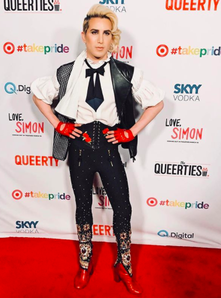 ivanbittonstylehouse Singer  @rickyrebelrocks  rocks the  @queerty  Awards at  @hydesunset  red carpet wearing our fabulous designers  @humaadnan   @napsvgar  @maisonfparis  styled by  @elenanazaroff fashion provided by  #ivanbittonstylehouse