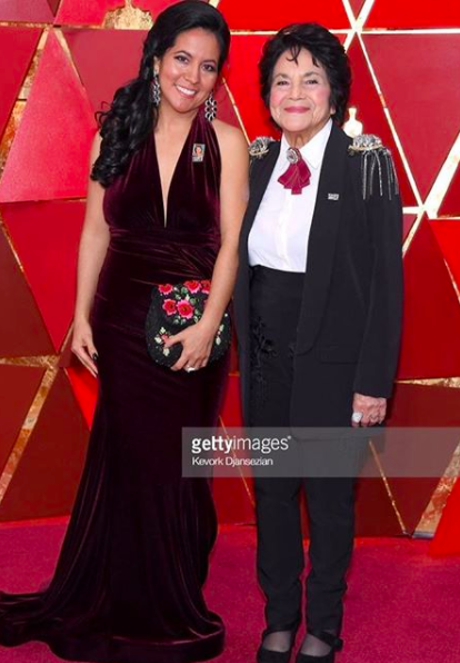 ivanbittonstylehouse Iconic moment at the  @theacademy   #oscars  Red carpet with civil right activist icon and President  @barackobama  co founder of biggest movement in USA  #sisepuede   #yeswecan  @doloreshuerta  and daughter Camila Huerta looking gorgeous while supporting super star  @common  on stage wearing our designers  @theroyalsparis   @sambacjewelry  @ottavianiofficial   @evamejl  @rougebyroojamir   @kilame  styled by  #teambitton   @aarongomezp  assited by  @stef.gallegos  fashion provided by  #ivanbittonstylehouse