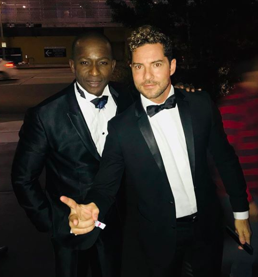 ivanbittonstylehouse Actor  @willscanga and super star  @davidbisbal  spotted at the  @eltonjohn   #oscarsparty  wearing our designer from France  @maisonfparis  styled by  #teambitton   @jadygolds  fashion provided by  #ivanbittonstylehouse
