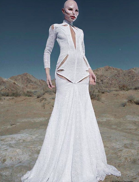 Fashion editorial Done for  @xioxmagazine  featuring our designers gown made by our designer from Brazil  @patricia_nascimento  styled by  @katelynn_tilley  fashion provided by  #ivanbittonstylehouse  #style  #fashiondesigner  #alien